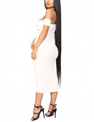Glorious White Slant Shoulder Cut Out Bodycon Dress Breath