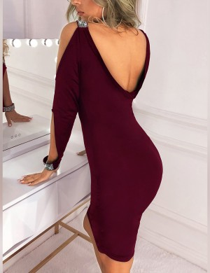 Lively Hot Drilling Wine Red V Neck Sleeveless Bodycon Dress For Playing