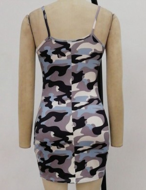 Green Slender Strap Square Neck Camouflage Bodycon Dress Chic Trend