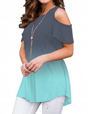 Pretty Short Sleeve Crew Neck Blouse Longline Casual Clothes