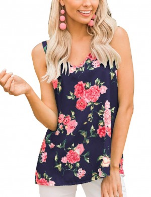 Attractive V Collar Navy Blue Criss Cross Tank Top Floral Print