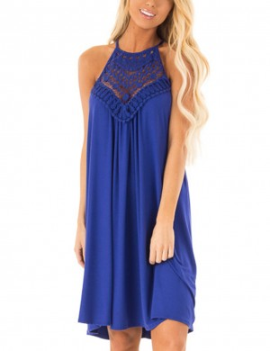 Trendy Pleated Open Back Blue Halter Midi Dress Hollow For Daily