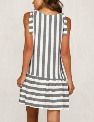 Grey V Neck Button Ruched Stripes Mini Dress Leisure Wear