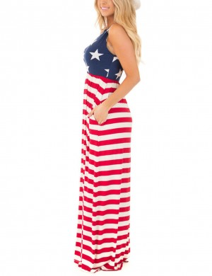 Nicely Round Neck Non-Sleeve Pocket Maxi Dress Comfort Devotion