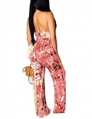 Sultry Pink Hollow Open Back Tie-Dye Jumpsuit Twist For Streetshots