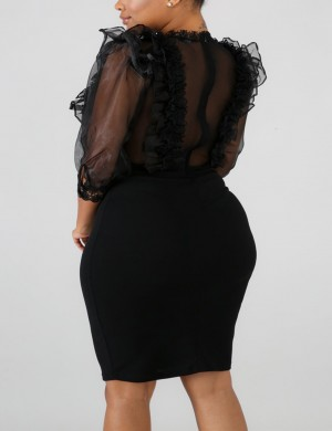 Diva Lace Mesh Black Puff Sleeve Midi Bodycon Dress Leisure Wear