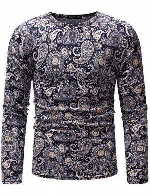 Relaxed Navy Blue Tribal Print Crew Neck Men Top Long Sleeve Great