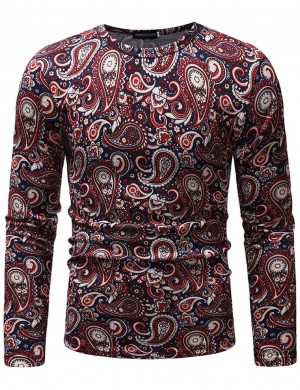 Wine Red Round Collar Long Sleeve African Shirt Male Comfort