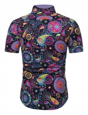 Stylish Floral Polo Neck Male Buttons Big Size Shirt Comfort