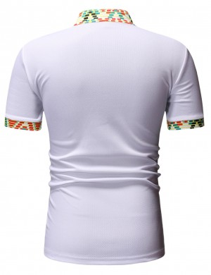 White Henry Collar Short Sleeve Male Top Elephant Cheap