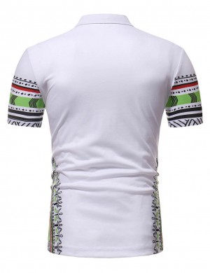 Dazzling White Polo Neck African Print Men Shirt Short Sleeve
