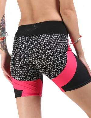 Rose Red Honeycomb Print Enhance Butt Short Active Bottoms Women