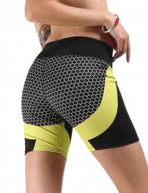 Sparkling Honeycomb Print Yellow High Rise Sport Bottoms Short Women