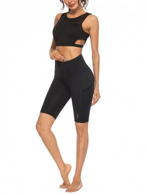 Fasinating High Rise Black Mesh Pocket Sport Bottom For Running