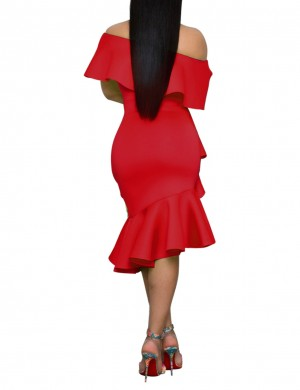 Bewildering Red Irregular Hem Ruffle Bodycon Dress Plain Newest Fashion