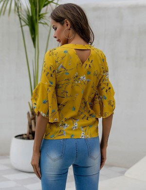 Yellow Flare Sleeve V Collar Print Shirt Cut Out Modern Fashion