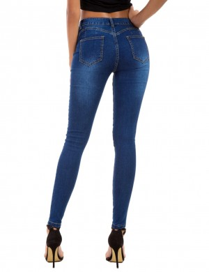 Graceful Tight Large Size Dark Blue Pocket Ripped Jeans Pencil Womens