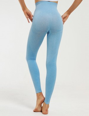 Blue High Waist Seamless Knitted Yoga Legging Feminine Confidence