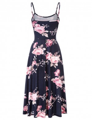 Bewitching Floral Print Open Back Skater Dress Slim Waist Nice Quality