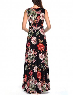 Conservative Flower Wide Strap Wrap Maxi Dress Big Size Comfort Fashion