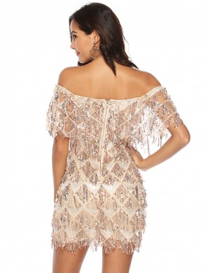Good-Looking Apricot Off Shoulder Sequin Fringe Bodycon Dress Zip Latest