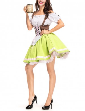 Green German Big Size Bavaria Cold Shoulder Oktoberfest Costumes Outfit