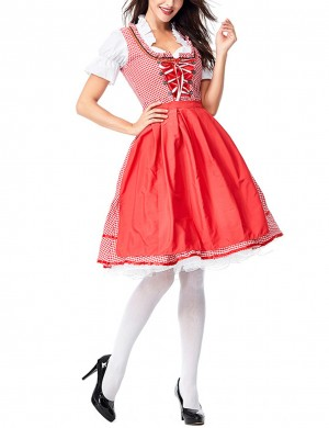 Diva Red Large Size 3-Piece Plaid Dirndl Oktoberfest Costumes Weekend Fashion