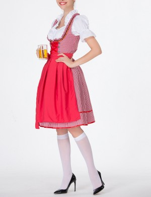Fascinating Red Dirndl Short Sleeve Large Size Oktoberfest Costumes Formal Settings
