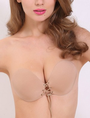 Close Lace Up Skin V Neck Invisible Bra Push Up Plain Smooth Fabric