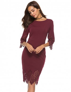 Curve Smoothing Wine Red Zipper Back Round Neck Hollow Bodycon Dress Newest