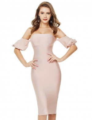 Enthralling Light Pink Backless Split Latern Sleeve Bandage Dress