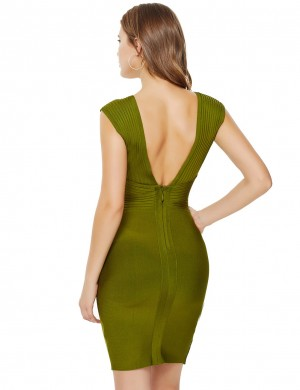 Lightweight Green Ribbed Split Zip Bandage Dress Wide Strap