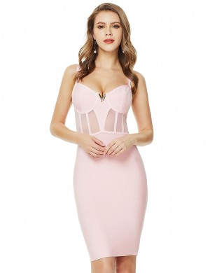Lively Purple V Neck Mesh Open Back Bandage Dress Zipper For Holiday