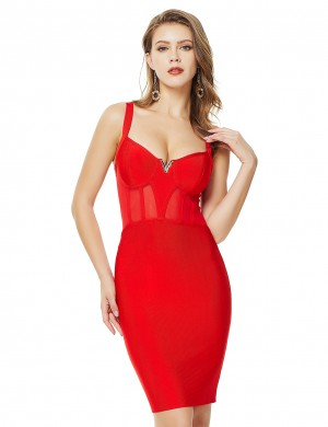 Entrancing Red Perspective Mesh Zip Bandage Dress V Neck Modern
