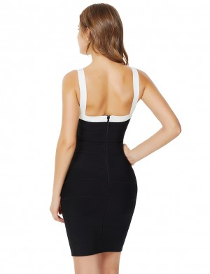 Dressy Contrast Color Sling Backless Bandage Dress Comfort Devotion