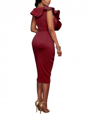 Intriguing Wine Red Zip Flounce Edge Shirred Sleeveless Bodycon Dress Relax Fit