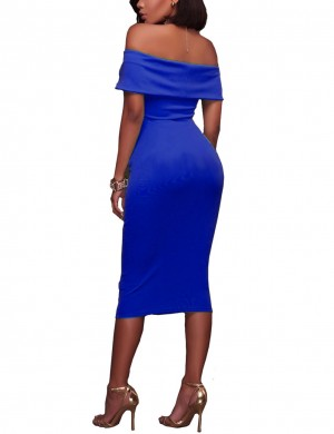 Explicitly Chosen Dark Blue Backless Ruched Off Shoulder Midi Bodycon Dress