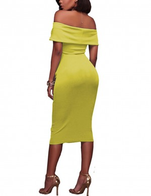 Cheeky Yellow Bandeau Ruched Backless Flat Shoulder Bodycon Dress Fashion