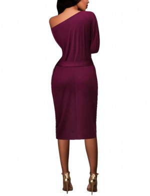 Supper Fashion Wine Red Knot Oblique Shoulder Bodycon Dress Midi Length
