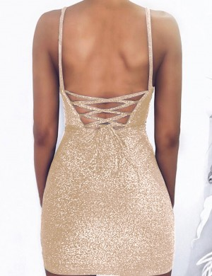 Natural Gold Shine Mini Length Lace Up Bodycon Dress Sling Women