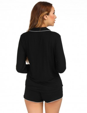 Black Modal Single Breasted Sleepwear Set Lapel Cozy Night