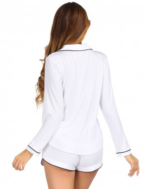 Eye-Catching White Buttons Pocket Modal Sleepwear Set Lapel For Midnight