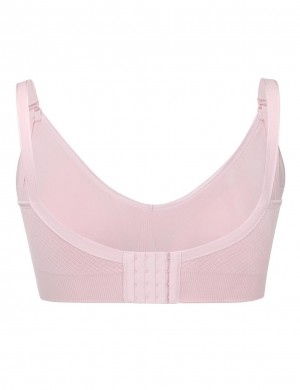 Smooth Pink Hooks Wireless Seamless Open Front Nursing Bra Slinky Figure