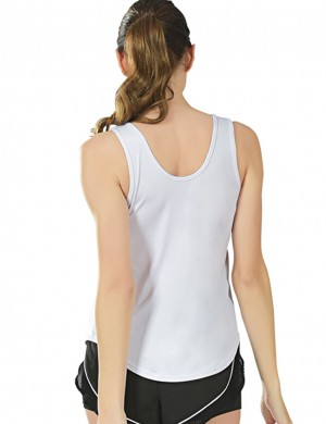 Fad White Crossover Plain Tank Sports Top Exercise Outfit