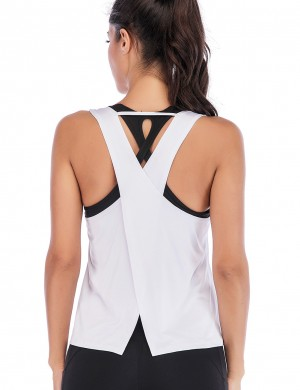 Favorite White Cut Out Slit Back Yoga Tank Top Workout Apparel