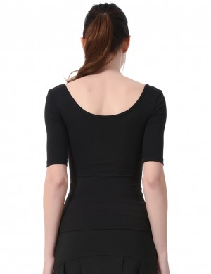 Feisty Black Round Collar Short Sleeve Tight Sport Top Slim