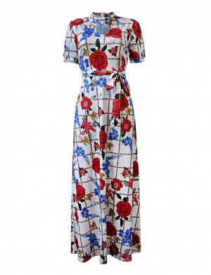 Slim Print High Waist Knot Zip Keyhole Maxi Dress Online Fashion