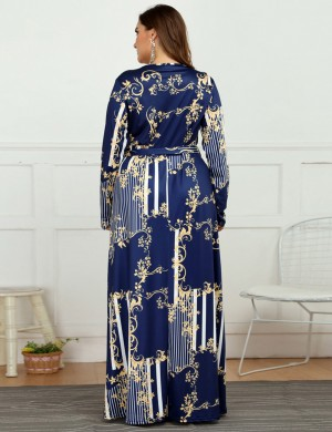 Favorite Long Sleeve Plus Size Print Maxi Dress V Neck Online