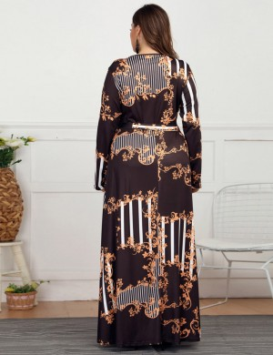 Close Fit Tie Wrap Queen Size Print Long Sleeve Maxi Dress Online