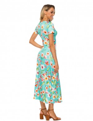 Pullover Green Short Sleeves Floral Print Twist Maxi Dress For Stunner
